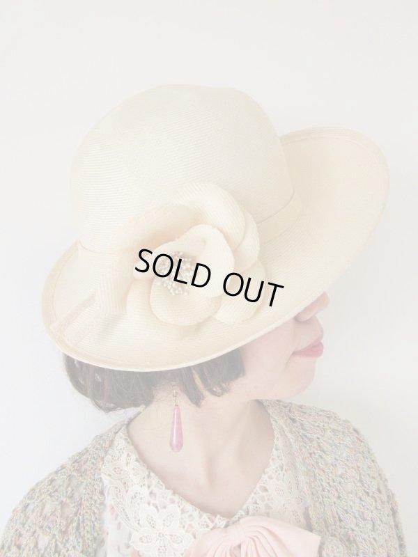 画像1: レディーなお花コサージュのお帽子
