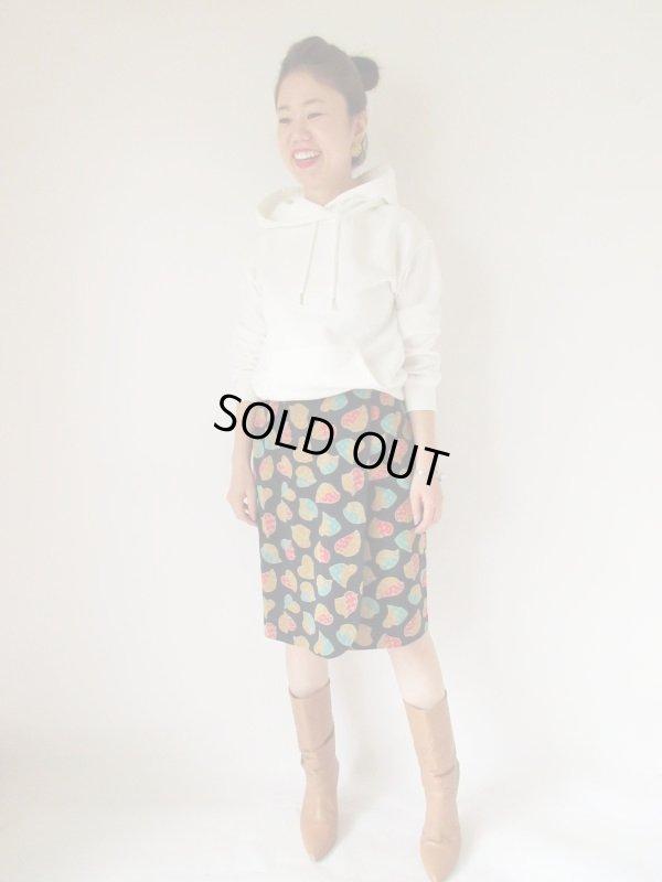 画像2: リーフ柄のラップ風デザインスカート