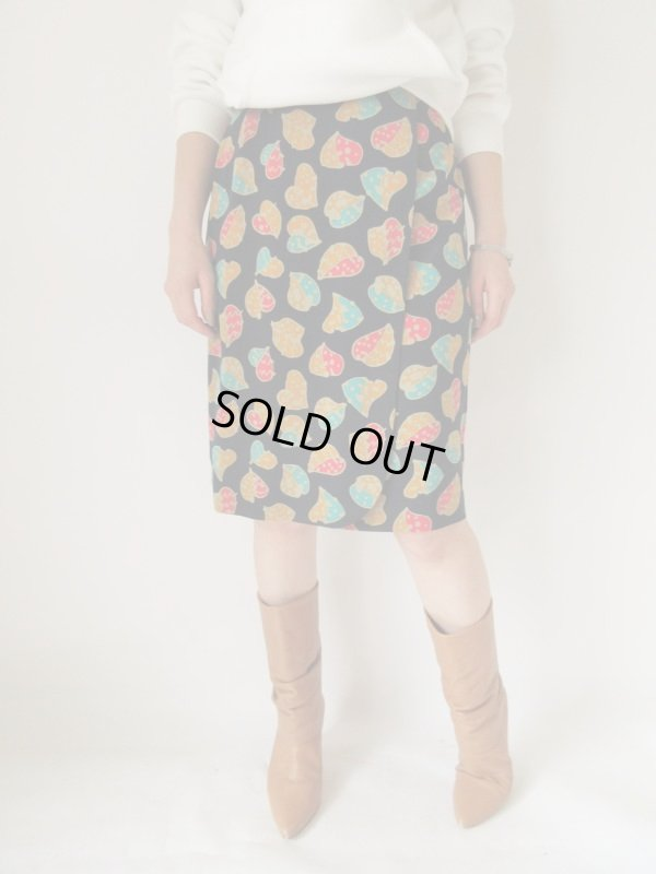 画像1: リーフ柄のラップ風デザインスカート