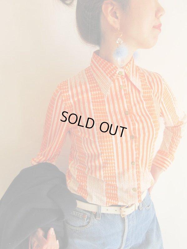 画像1: オレンジグラデーションの柄シャツ