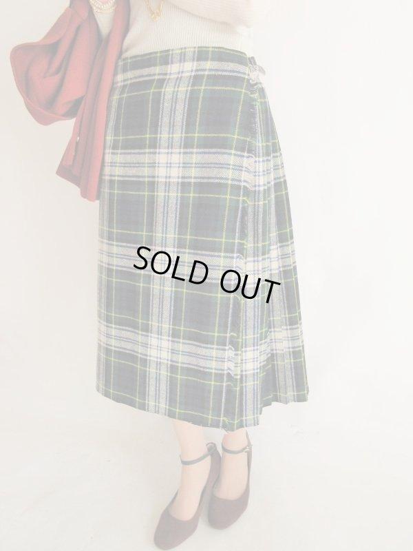 画像1: 海外vintage*チェック柄ラップスカート