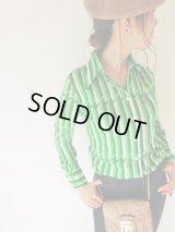 未使用*ストライプのグリーンシャツ