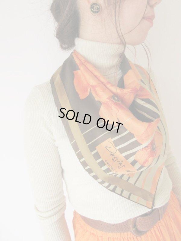 画像1: オレンジ×茶グラデーションの花柄スカーフ
