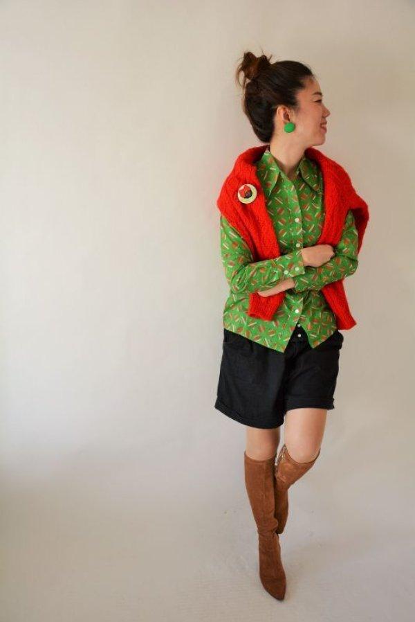画像5: 未使用*鮮やかグリーンのスクエアー柄シャツ
