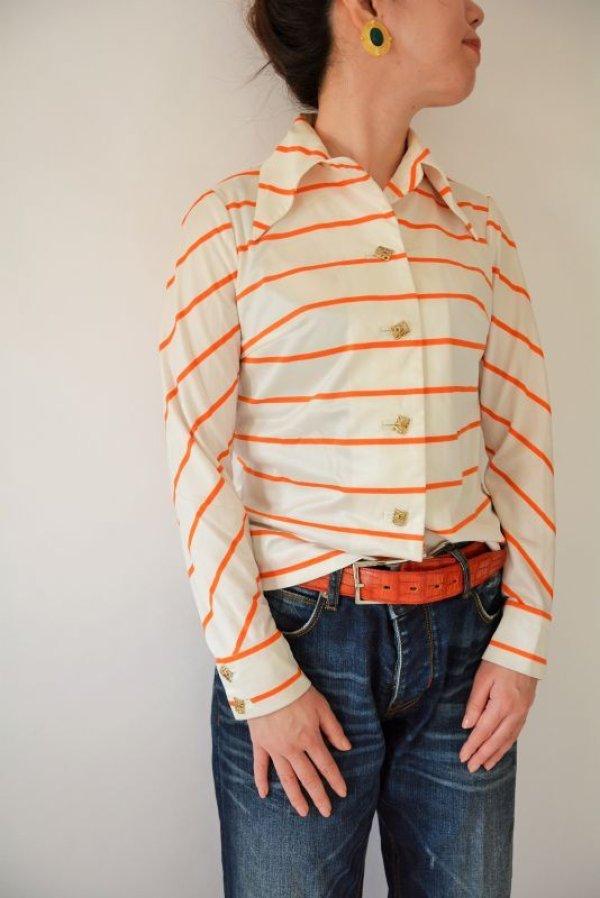 画像1: ビタミンオレンジのボーダーシャツ