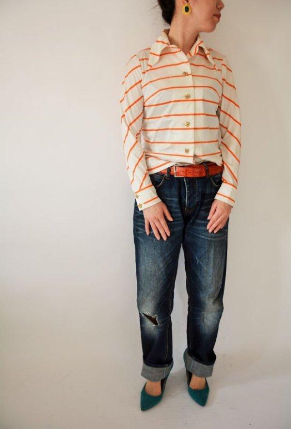 画像2: ビタミンオレンジのボーダーシャツ