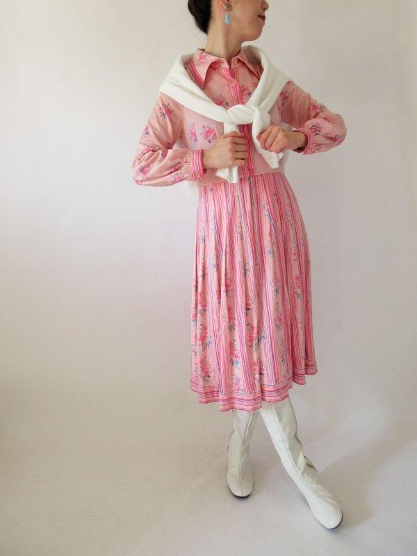画像2: 【可愛く見られたい日に*】レトロピンクのフラワーワンピース