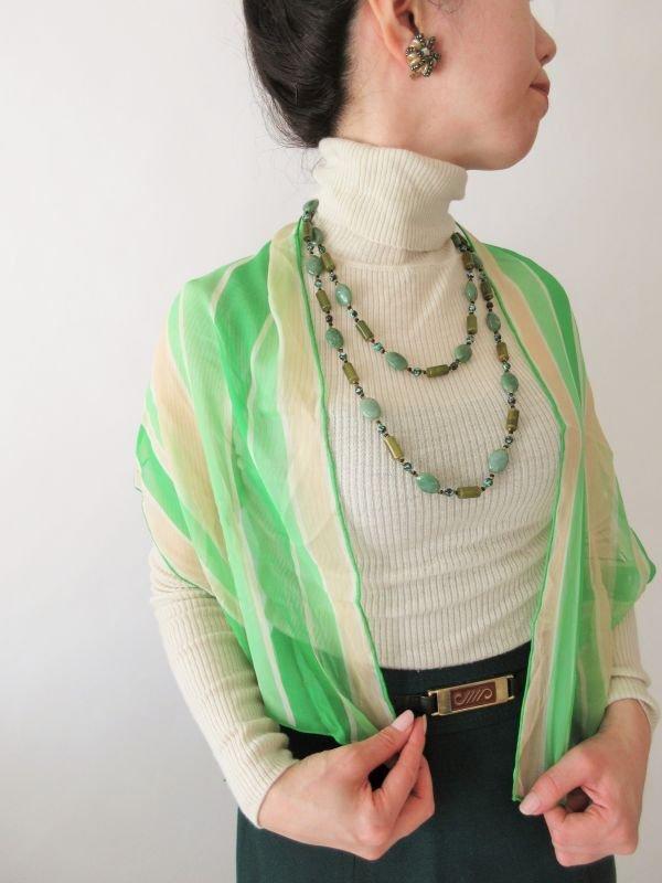 画像1: 【新鮮さを運ぶ配色*】ボーダー柄のシフォンスカーフ