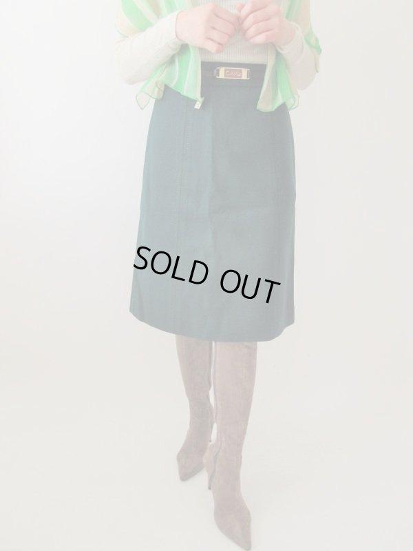画像1: 【潔い深みグリーン*】ウエストバックルデザインスカート