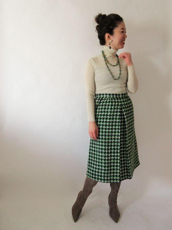 画像2: 【安定感のある可愛さ*】レトロ配色スカート