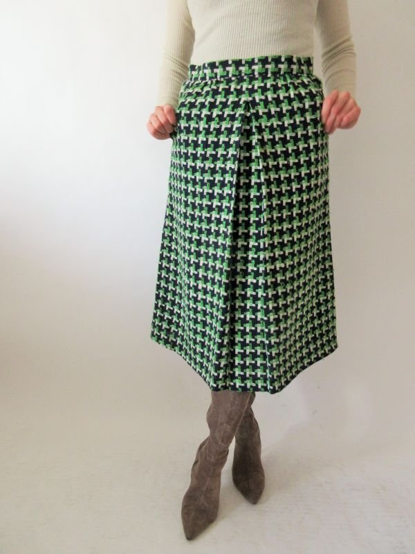 画像1: 【安定感のある可愛さ*】レトロ配色スカート
