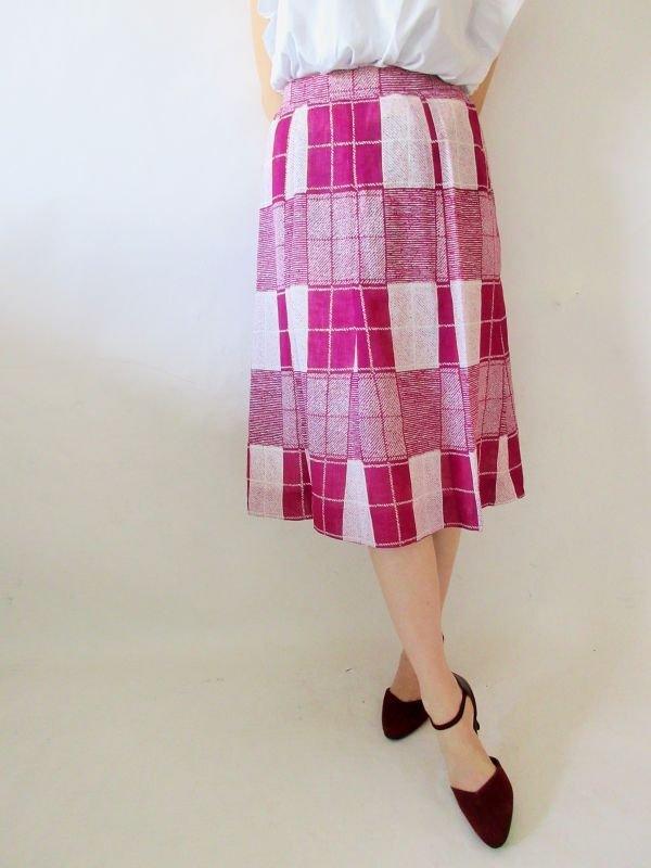 画像1: 【大人可愛い2色使い*】格子柄スカート